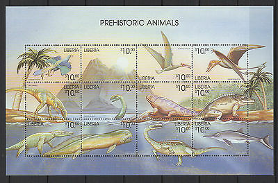 LIBERIA  prehistoric animals  feuillet 12 timbres neufs  /B5F3