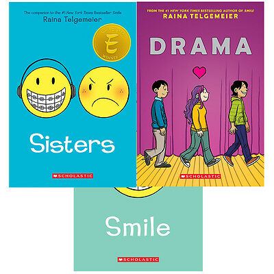 Raina Telgemeier 3 Books Collection Set (Sisters,Smile,Drama) Paperback New Pack