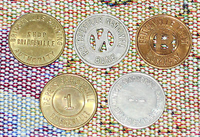 Scarce PEPE'S BAR & GRILL BRIDGEVILLE PA Plus 4 Other Parking Tokens