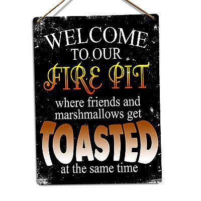 WTF | Welcome to our Firepit | Metal Wall Sign Plaque Art GArden Home Family