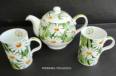 Marks And Spencer St Michael Daisy Teapot & 2 Matching Mugs - Fab Condition