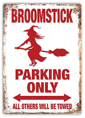 WTF | Broomstick Parking | Metal Wall Sign Plaque Art | Witch Magic Halloween