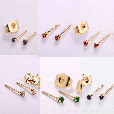 18k Yellow Gold GF Sleeper Stud Earrings Made with Tiny 2mm Swarovski Elements