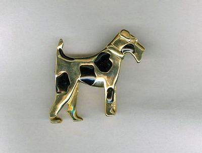 UNUSUAL Vintage Wire Fox Terrier Pin Dog Gold Tone with Hidden Heart!