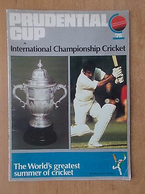 Prudential Cup Programme - First Ever Cricket World Cup 1975