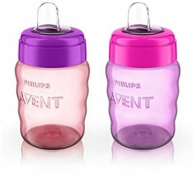 Philips Avent My Easy Sippy Cup, 9 Ounce, Stage 2 baby Pink -Purple Cups New