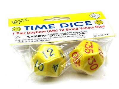Set of 2 Jumbo Yellow D12 Time Dice for Daytime (AM) Basic Time Telling Skills