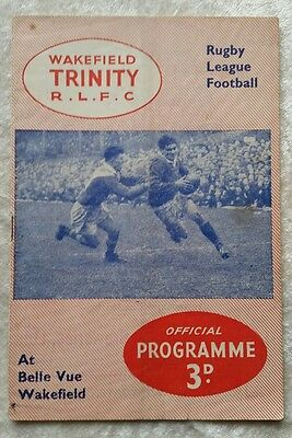Wakefield Trinity v Huddersfield Cup Game 16/9/1957 Rugby League Programme