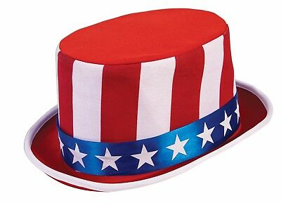 Red White and Blue USA Star Hatter Stovepipe Hat 4th of July Patriotic Accessory
