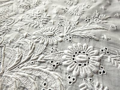 FRENCH, AYRSHIRE Antique c1880 Baby Dress Christening Gown  WHITEWORK EMBROIDERY