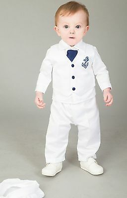 Baby Boys Christening Outfit / Christening Suit 4pc Sailor Suit White Navy