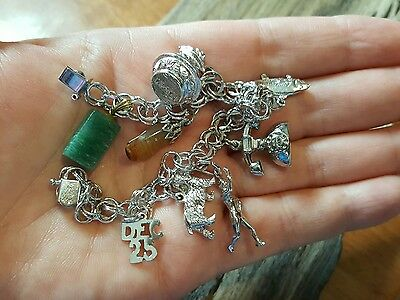 vintage sterling silver charm bracelet with charms Avon pitcher dog fish