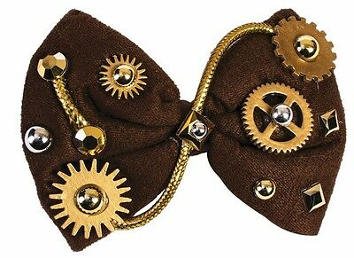 Steampunk Bowtie Brown Bow Tie Victorian Industrial Gears Gems Costume Accessory