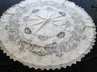 Antique Linens- Lovely Round Italian Tablecloth W/cherubs