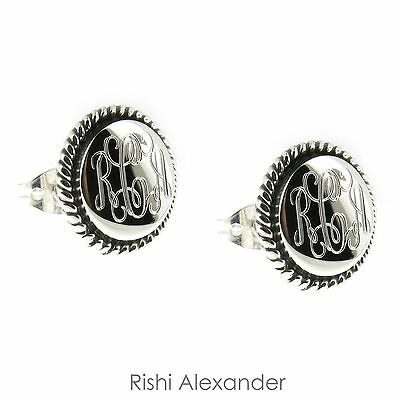 925 Sterling Silver Rope Edge Monogram Personalized Earrings - 12mm