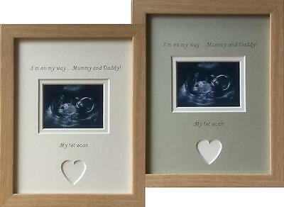 I'm On My Way Mummy and Daddy, First Scan Picture Frame, Beech or Oak  9 x 7