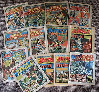 Bundle / Job Lot 13x BATTLE ACTION FORCE COMIC's + EAGLE 1981-1986 Vintage RARE