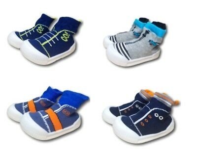 Baby Infant Boy Indoor Outdoor Non Slip Socks Slippers With Rubber Sole Size 4-6