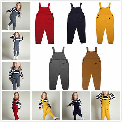 New Baby Kids Boys Girls Knit Suspender Trousers Long Bids Pants Overalls Witty