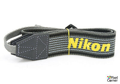 Nikon genuine neck strap from early AF Nikon cameras - Grey / Black with yellow
