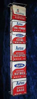 Astor Spices Metal Grocery Store Shelf Hanger Display with 6 Empty Cans #2