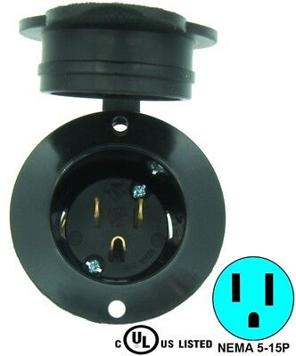 BLACK 5-15P Flanged Power Inlet w/Waterproof Cover Cap 15 AMP 120VAC 125V 5278