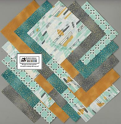 "25~5"" Teal & Gray Geometric Fabric Squares/Quilt/Craft/Sew/Charm Packs #5888"