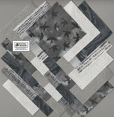 "25~5"" Black & Gray Birds Fabric Squares/Quilt/Craft/Sewing/Charm Packs #5887"