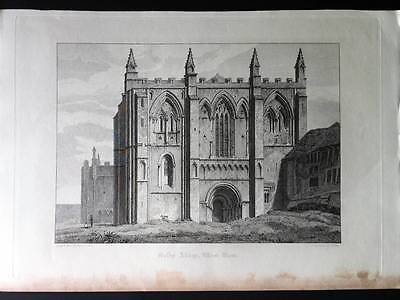 SELBY ABBEY YORKSHIRE c1813 West View, Original Engraving, Antique Print