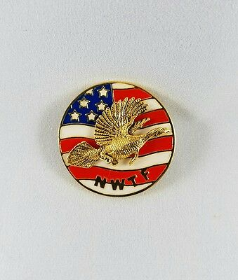 NWTF National Wild Turkey Federation patriotic flag flying gobbler hat lapel pin