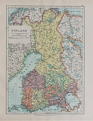 Finland - Antique-Vintage 1920 Colour Map by Stanford