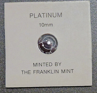 {BJSTAMPS} PLATINUM  mini coin Franklin Mint COA 1.4 gram Comet Kohoutek