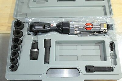 "Suntech 3/8"" Pneumatic Air Ratchet Socket Wrench Kit + Case + Genius Sockets"