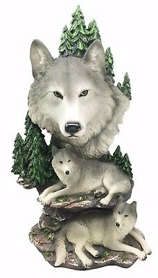 """Mountain Wolf Bust And Family Wolves Pack 13"""" Height Resin Figurine Statue"""