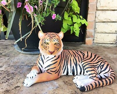 "Large Orange Tiger Resting 15.5"" Long Statue Home Garden Patio Hardened Resin"