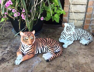 "Set Of Large White & Orange Tiger 15.5""L Statue Home Garden Hardened Resin"