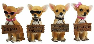 Set of 4 Chihuahua Dog Holding Funny Saying Signs Small Figurines Resin Statue