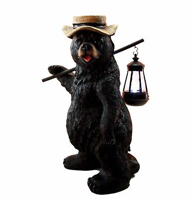 "16.5"" Tall Black Bear Traveller w/ Hat Figurine W/ Solar LED Light Lantern Lamp"