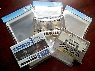 72 Plastic Covers With Adhesive Closure For Collector Of Cassette Tapes