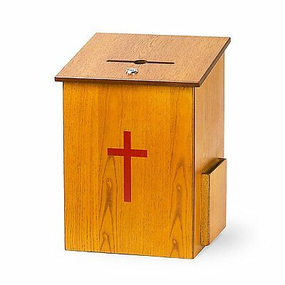 Source One Wooden Church Offering Donation Box w/Cross 1 Pack, Large
