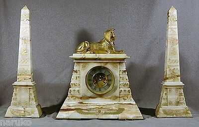 REALLY OUTSTANDING MARBLE EGYPTIAN 1886 CLOCK w ETCHED DECOR ON CLOCK & PYRAMIDS