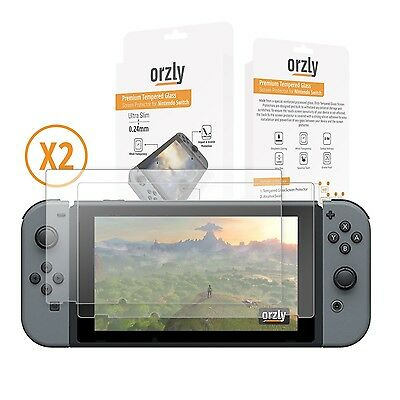 Screen Protector Nintendo Switch - Orzly Premium Tempered Glass [0.24mm] Scre...