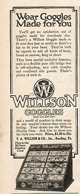 1916 Willson Goggles Driving Glasses Store Display Vintage Magazine Print Ad