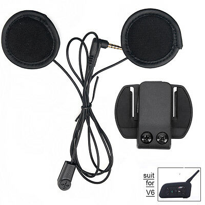 Soft Headset mic/speaker+Clip mount for V6 Motorcycle Bluetooth Helmet Intercom
