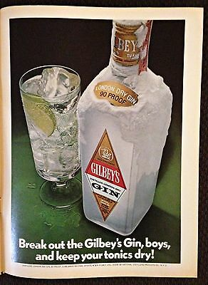 Vintage 1971 Magazine Ad - Break Out The Gilbey's Gin - Bar or Home Wall Decor