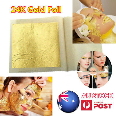 24K Pure Edible Gold Leaf Real Genuine Leaves Sheet Food Craft Mask SPA Gilding