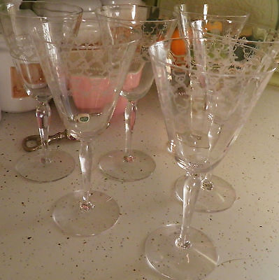 6 Tiffin Optic Needle Etched Stemware Crystal Wine Water Glasses Goblets
