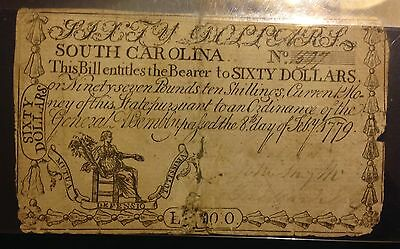 February 8, 1779 South Carolina  60 Dollars Colonial Currency Very Rare Note