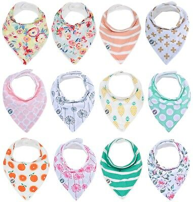"""Baby Bandana Drool Bibs for Girls 12 Pack """"Little Rosa Set"""" by Mumby"""