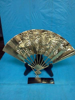 Vintage Solid Brass Asian Fan Dragon Motif Chinese China Measures 11 Inches